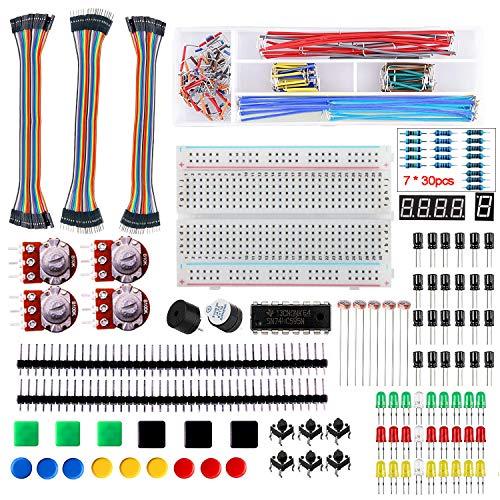 Super44day Kit básico de componentes electrónicos para Principiantes con Cable de Puente de Tablero, resistencias, LED, Interruptor, potenciómetro para Arduino R3, MEGA2560, Raspberry Pi