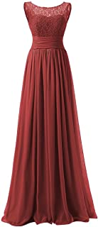 Bridesmaid Dresses Long Evening Gowns Chiffon Wedding Party Formal Dress Lace Bodice Maxi