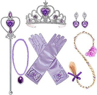 لباس های مجلسی دخترانه یوسبابه از جمله Rapunzel کلاه گیس تاج دستبند گردنبند گوشواره Rapunzel Sofia هدایای لباس شاهزاده خانم لوازم جانبی برای دختران