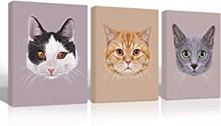 Gardenia art - Cute cat Animal face Canvas Wall Art for Nursery Room Decoration Three Kitten Head Portraits Pictures 12x16 in 3 Pcs Stretched and Framed a to Kids