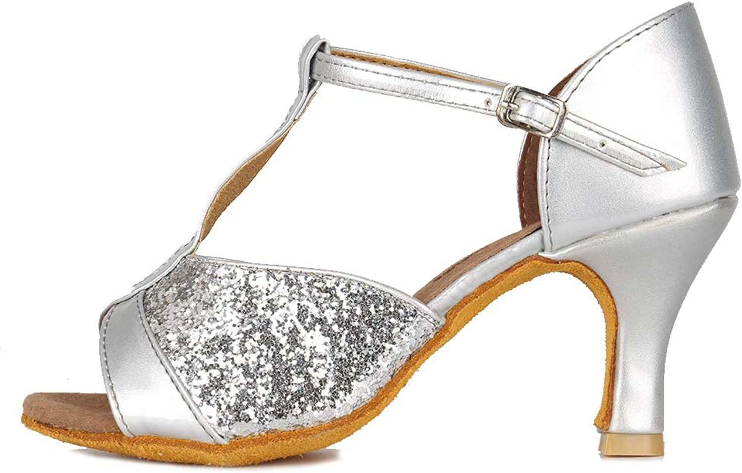 00afd7c67 HIPPOSEUS Women's Standard Latin Dance shoes t Strap Classical Ballroom  Dancing shoes with Sequins,Silver