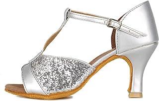 HIPPOSEUS Zapatos de Baile Latino para Mujer Lentejuelas con Correa en T Zapatos de Baile de salón de Salsa, Modelo 259