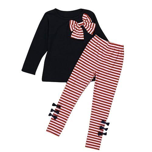 6804aaab3e60c Ensemble à Manches Longues, Internet Bébé Fille Bowknot Robes T-Shirt + Pantalon  rayé