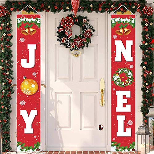 Acerich Christmas Banner for Home, Merry Christmas Porch Sign Xmas Decorations for Holiday Home Wall Hanging Indoor Outdoor