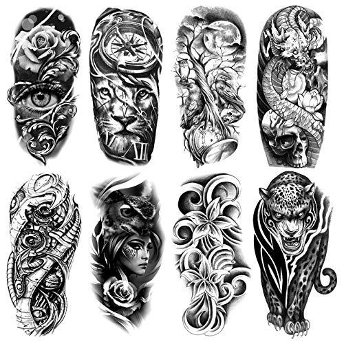 Oottati 8 Sheets Black Rose Eye Lion Compass Moon Clock Tree Dragon Skull Owl Flower Leopard Arm Temporary Tattoo