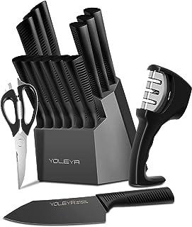 YOLEYA Profi Messerblock Messer Set, 15-TLG Kochmesser Set aus Edelstahl Schwarz Antihaftbeschichtung, mit Blockhalter, Scharfes & Rutschfester Küchenmessersets