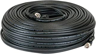 Lknewtrend 200ft RG59 Siamese 20AWG Power Video Coaxial Cable BNC 75Ohm 95% Braid Wire Cord for HD-SDI, AHD, TVI, CVI All CCTV Surveillance Cameras with BNC Connector and 2.1mm Power Jack (Black)