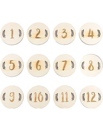 NUOBESTY Carte Milestone Mensili 12 Pezzi 10X10x0,3 Cm Numeri Rotondi Regalo Doccia Bambino in Legno Nascita Annuncio Carta Record Mese Set Dischi Fotografia Puntelli Lettera Inglese