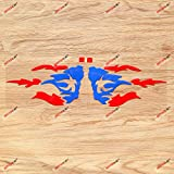 Puerto Rico PR Puerto Rican Flag Fire Decal Vinyl Sticker - Pair Red+Blue, 6 Inches - Die Cut No Background