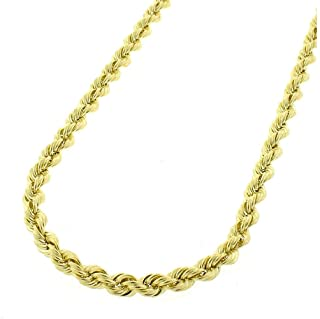 710153749 10K Gold 2MM 3MM 4MM Diamond Cut Rope Chain Necklace for Men and Women-  Braided