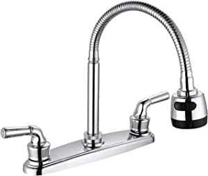 SOLVEX 2 Handle Kitchen Sink Faucet, High Arc 360 Swivel Stainless Steel Pipe 3 Hole Kitchen Faucet, Commercial Modern Chrome Kitchen Sink Faucet with Flexible Spout, SP-80067
