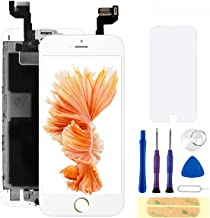 Compatible with iPhone 6S Screen Replacement White 4.7 Inch Full Assembly LCD Display Digitizer with Front Camera, Ear Speaker, Proximity Sensor and Repair Tool Kit (A1700, A1688,A1633)