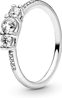باندورا خاتم فضة مطعم بفص مكعب من حجر الزركونيا النقي، 196242CZ-60