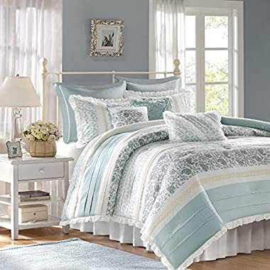 Madison Park Dawn Queen Size Bed Comforter Set Bed In A Bag - Aqua, Floral Shabby Chic – 9 Pieces Bedding Sets – 100% Cotton Percale Bedroom Comforters