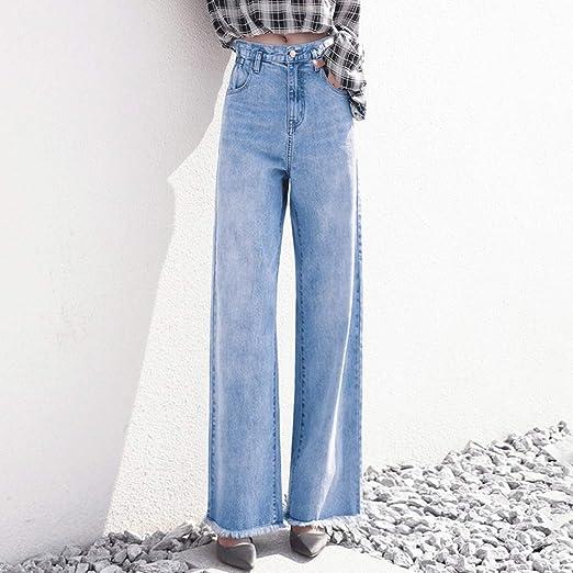 Rxf Jeans Rectos Mujer Pantalones Anchos Flojos Vintage Pantalones Anchos De Cintura Alta Amazon Es Hogar