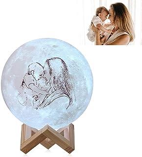 Lámpara de luna de foto personalizada Boceto LED personalizado Luz de noche de luna impresa con soporte de imagen y texto Control táctil regulable para niños Mujeres Aniversario de bodas Regalo
