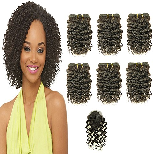 VIOLET Hair 8 Inch Brazilian Deep Curly Weave Hair Short Human Hair 6 Bundles With Closure 100% Unprocessed Human Hair Extensions Black Color Hair Bundles
