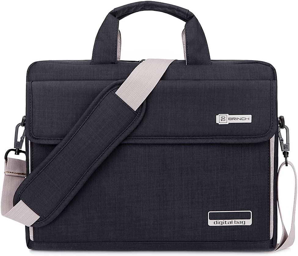 BRINCH Laptop Bag Oxford Fabric Portable Notebook Messenger Bag Shoulder Briefcase Handbag Travel Carrying Sleeve Case w/Shoulder and Luggage Strap for Men Women Compatible 17-17.3 Inch Laptop, Black