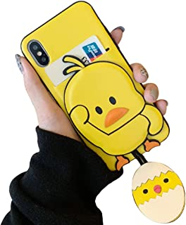 BONTOUJOUR iPhone XS Max Case, Super Cute Dancing Yellow Duck PU Leather Phone Case with Card Slot, PU leather Back TPU Frame Good Protection - Duck-1