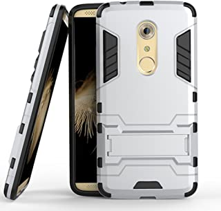 Case for ZTE Axon 7 (5.5 inch) 2 in 1 Shockproof with Kickstand Feature Hybrid Dual Layer Armor Defender Protective Cover (Silver)