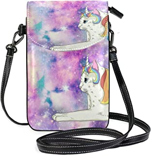 SLHFPX Women Mini Crossbody Shoulder BagUnicorn CatLeather Smartphone Purse Handbags