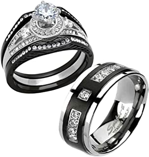 FlameReflection His and Hers Stainless Steel Women's Black Halo Round Cut CZ Wedding Ring Couple Ring Bridal Set & Men Titanium Black Plate Strip Round CZ Men's Wedding Band