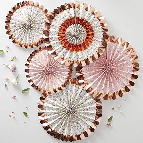 Ginger Ray Decoraciones de abanico de fiesta con diseño floral y oro rosa, paquete de 5