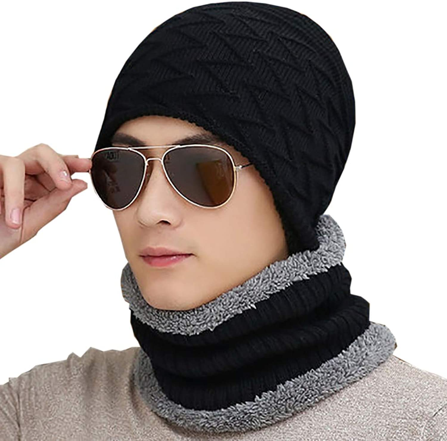113df681 2-Pieces Winter Beanie hat Scarf Ski Oversized Oversized Oversized Baggy  Knit Slouchy Thick Men and for Women 6 Style-Black 85217c