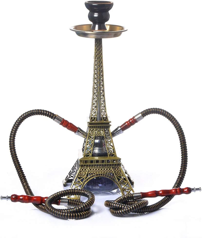 YONGCHY París Torre Metal Cachimba Doble Juego De Tubos Hookah Shisha Narguile De Carbón Tigela Hookah Base Tuyau Chicha Regalos Party Accessories