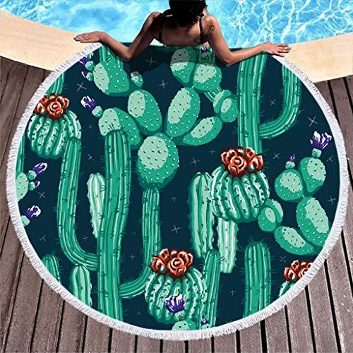 Lolyze Toalla de playa redonda grande de secado rápido, toalla de playa, microfibra, toalla de playa, toalla de baño, manta de picnic, esterilla de yoga para dos personas, color blanco, 150 cm