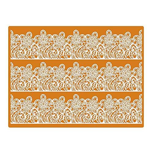 Martellato Effet Dentelle Motif 1 Tapis de décoration, Silicone, Orange/Blanc, 30 x 40 cm