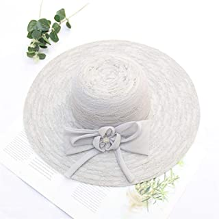 SHENTIANWEI Hat Female Summer Large Brimmed Sun hat Korean Fashion Wild lace UV Collapsible Sun hat Beach hat (Color : Grey, Size : Adjustable)