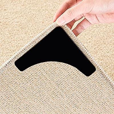 Beautysaid Rug Gripper 4PCS Non Slip Corner and Side Grippers Corner Carpet Anti Curling Reusable Rug Pad L-Shape