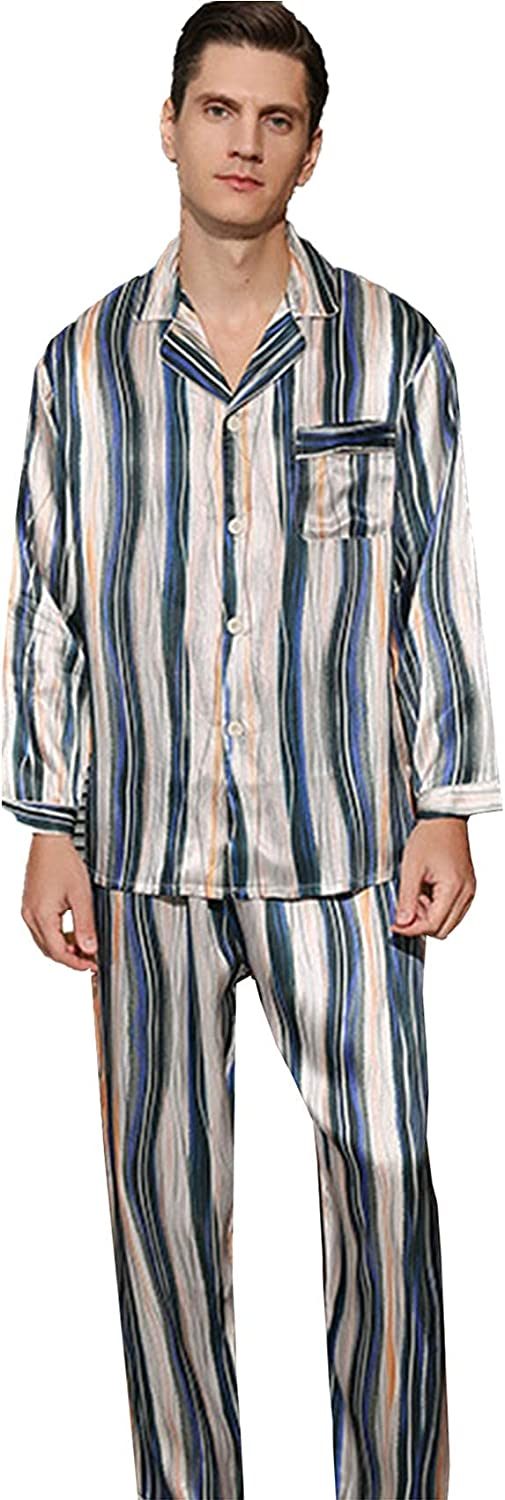 FMOGG Men's Pajama Set Long Sleeve Striped Sleepwear Button Down Tops and Pants/Bottoms Classic 100% Mulberry Silk Homewear Set Autumn and Winter M-3Xl