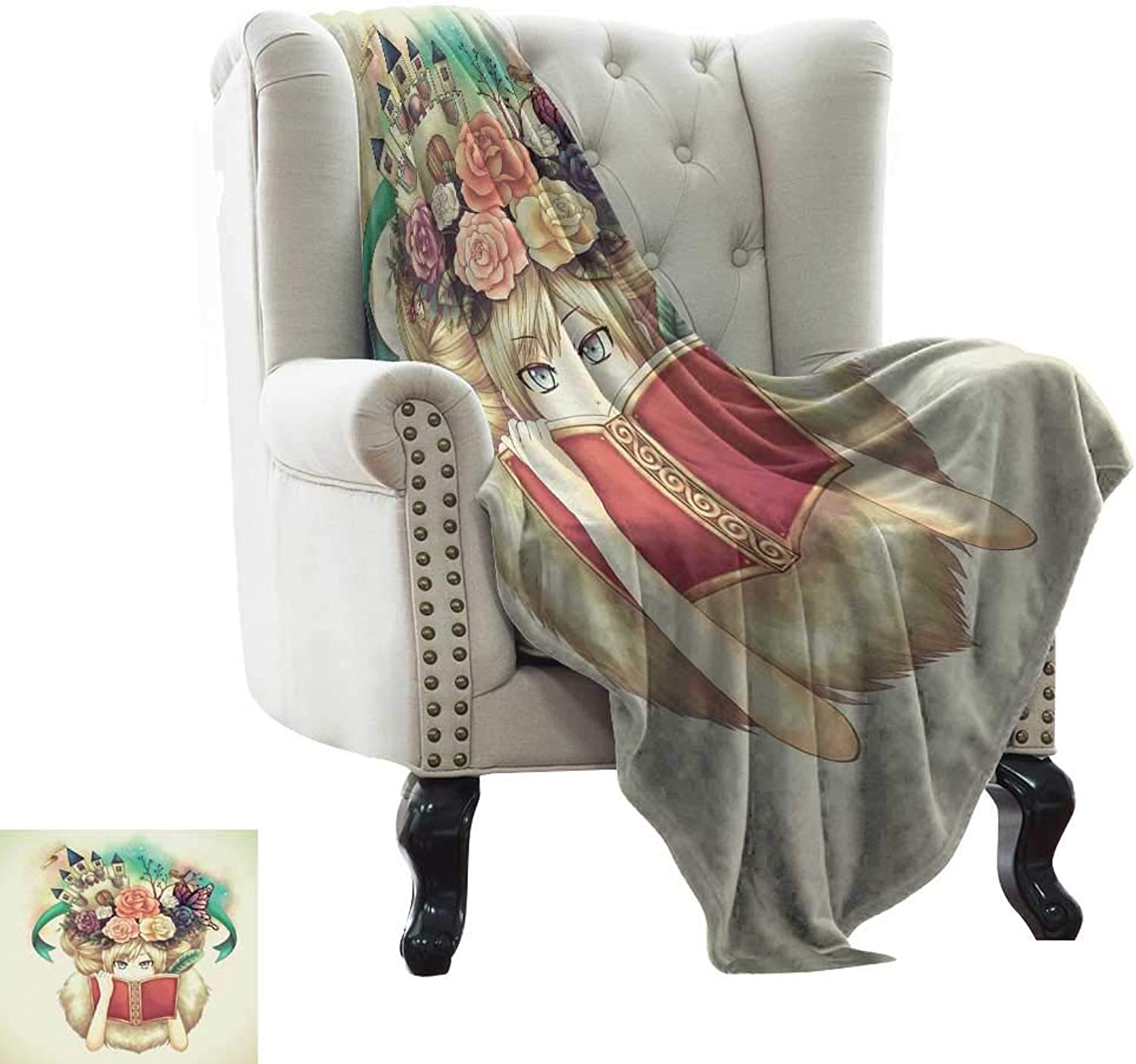 WinfreyDecor Home Throw Blanket Creative Girl Reading with Medieval Castle Butterfly pinks Bird Dream World Print Cozy for Couch Sofa Bed Beach Travel 50  Wx60 L