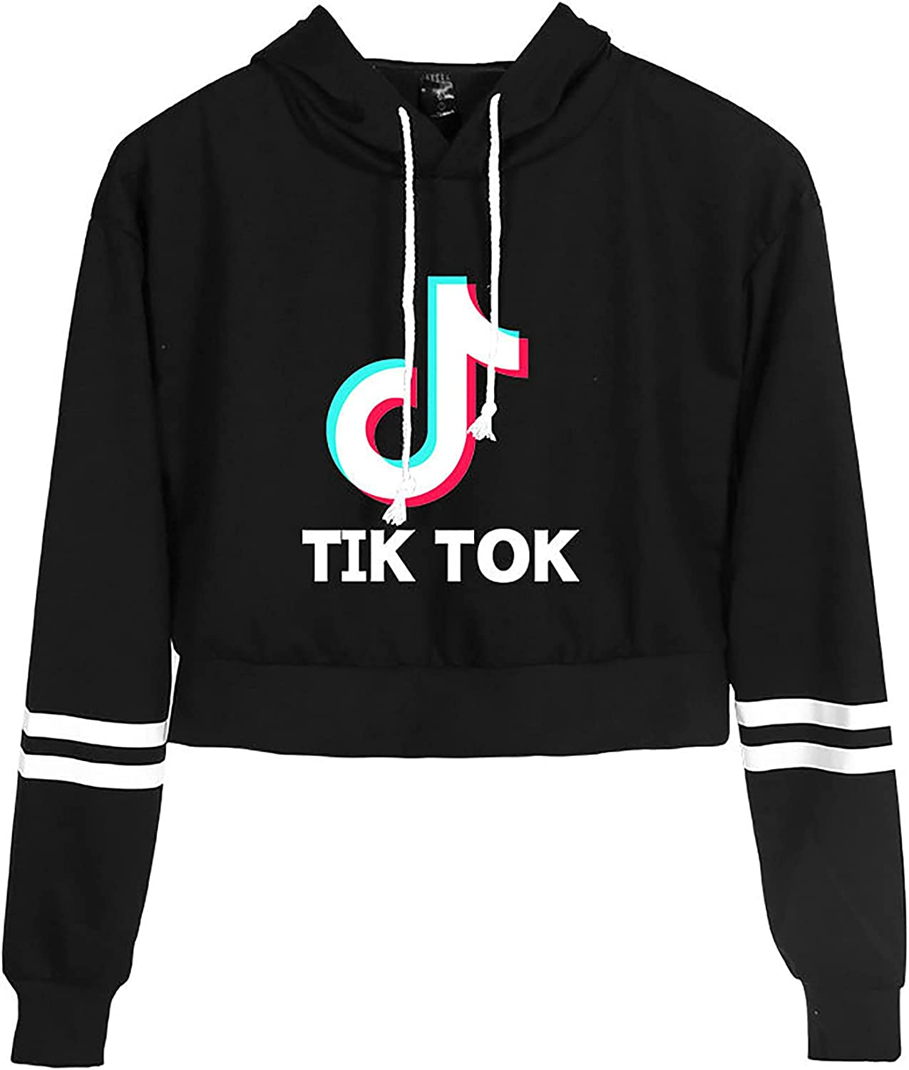 Women's To-TIK Hoodies Girl Pullover Sweatshirts Long Sleeve Cropped Hoodie Active Hooded Cropped Pullover