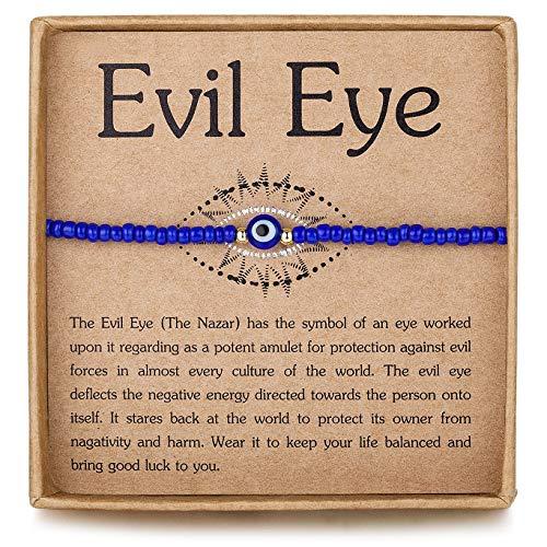 Evil Eye Friendship BFF Bracelet Blue Blass Tiny Beads Adjustable Good Luck Ojo Protection Nazar Bracelets for Women Men