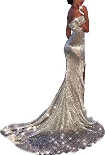 Women's Off Shoulder Sequined Long Sleeve Party Cocktail Evening Prom Gown Mermaid Maxi Long Dress