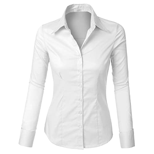 19a6ef67 LE3NO Womens Tailored Long Sleeve Button Down Shirt with Stretch