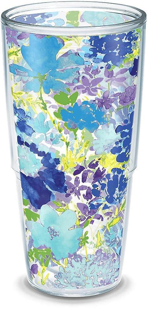 親愛な亜熱帯電球Tervis 1290786?fiesta-purpleフローラルタンブラーwith Wrap、24oz、クリア