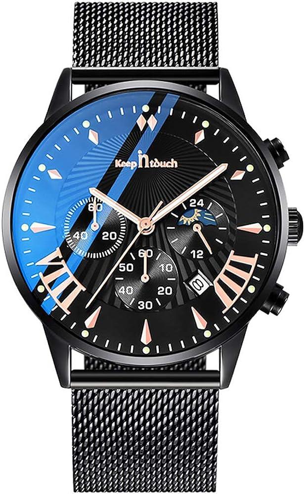 Infinito U-Fashion Reloj de Cuarzo Cronógrafo para Hombre Minimalista Moda Relojes de Pulsera Casual Impermeable con Banda Negro/Blanco con Reloj Calendario