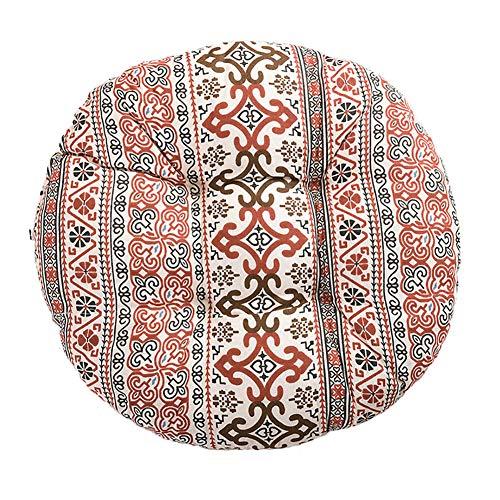 BIGBOBA Moda Materassino futon in Cotone e Lino Spesso in Stile Etnico,Cuscino del Divano del Soggiorno Sedia da Ufficio Tondo Cuscini di Tatami 40cm