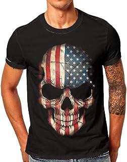 Mens Flag Skull 3D Printing Tees Shirt Short Sleeve Simple T-Shirt Tops