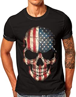 Mens Flag Skull 3D Printing Tees Shirt Short Sleeve Simple T-Shirt Tops