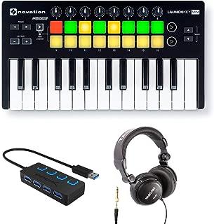 Novation Launchkey Mini 25-Note USB Keyboard Controller MK2 with Headphones and 4-Port 3.0 USB HUB
