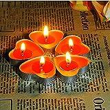 Ailiebhaus 50er herzförmige Kerzen, rauchfreie Teelichter, für Geburtstag, Vorschlag,Hochzeit,Party, Rot, Hochzeit Verlobung, Valentinstag(Rot) - 9