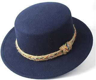 2019 Mens Womens Hats Unisex Men Women Flat Top Hat for Gentleman Dad with Belt Winter Wide Brim Hat Outdoor Travel Fascinator Hat Casual Church Hat (Color : Dark Blue, Size : 56-58)