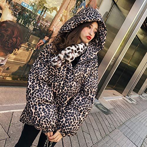 GDRFHJZ Women'S Winter Down Jassen Hooded Lange Mouw Overaize Jas Vrouwelijke Mode Kleding Tide Luipaard Jas Met Riem