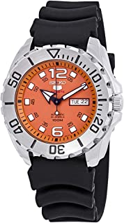 Seiko Men's Seiko 5 44mm Black Silicone Band Steel Case Automatic Orange Dial Analog Watch SRPB39K1