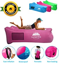 Lounge King Inflatable Lounger Air Sofa Hammock, Portable Water Proof Anti Leaking Design, Ideal Inflatable Couch For Camping Beach Pool Backyard Picnics Music Festivals With Carry Bag And Accessories